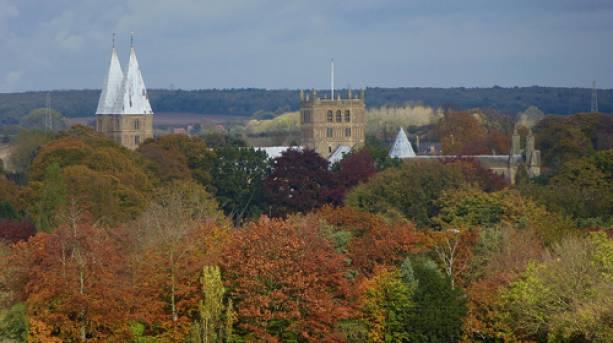 Autumn trees outside Southwell Minster in Nottinghamshire