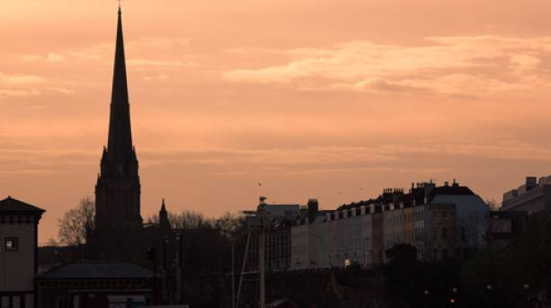 St Mary Redcliffe at sunrise, Bristol