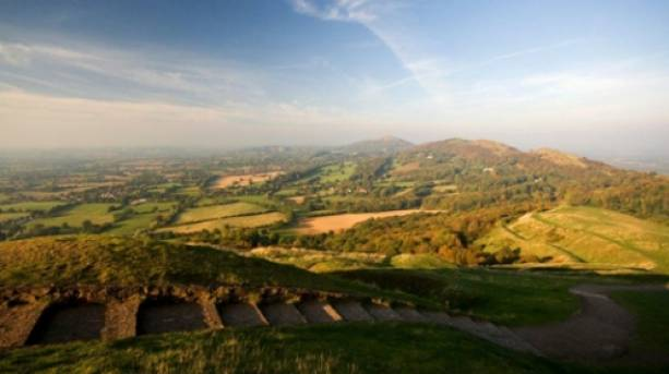 View of Worcestershire beacon and the Malvern Hills