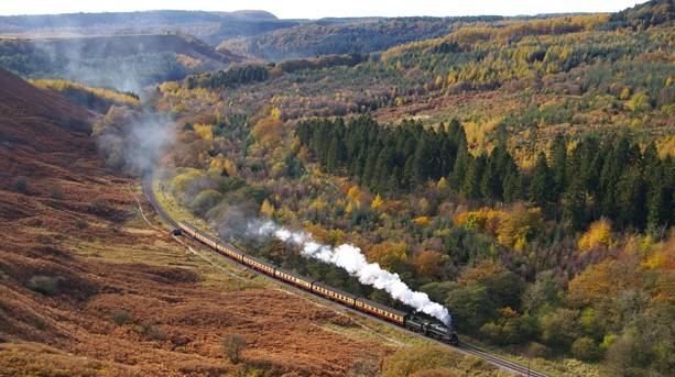 A Steam Train Travelling through the North York Moors