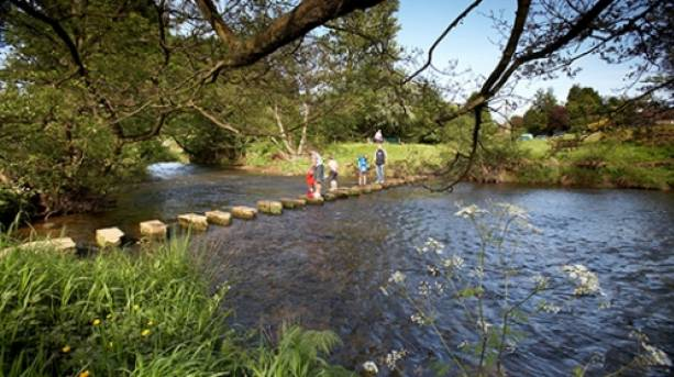 Crossing the stepping stones at Lealholm