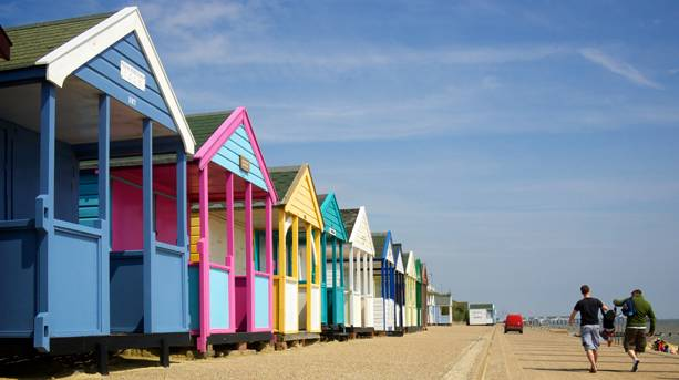Brightly-painted beach huts in Southwold, Suffolk