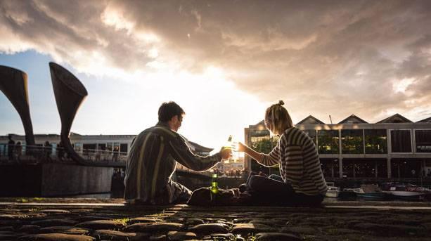 Sunset cheers on Bristol Harbourside
