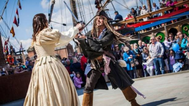 Actors sword fighting at the Tall Ships Festival