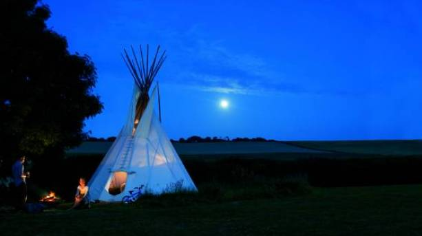 Camping in a teepee