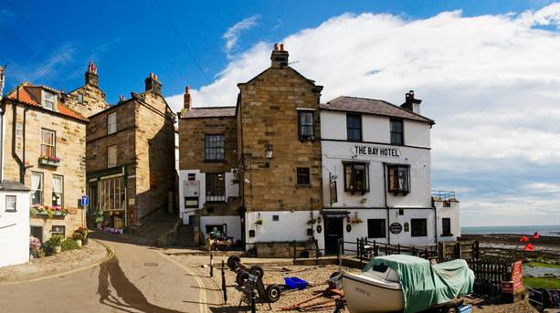 Wainwright's Bar in the Bay Hotel, Robin Hood's Bay, marks the end of Wainwright's famous Coast to Coast walk