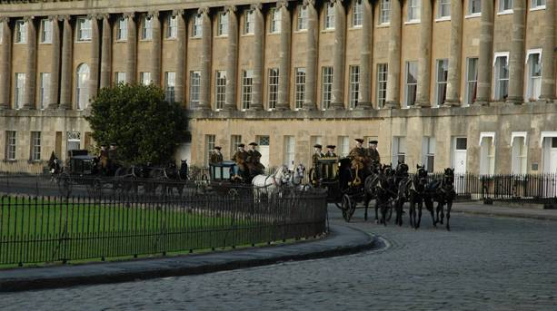 Horse and carriages on the film set for The Duchess