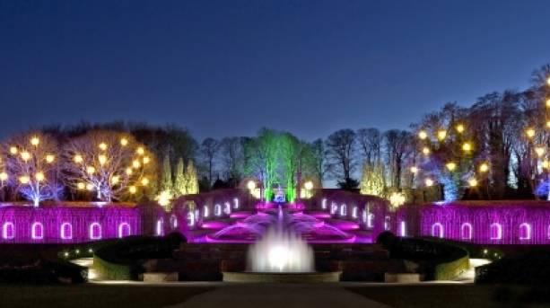 Illuminated gardens at Alnwick