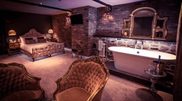 A luxury double room at The Joiners Arms