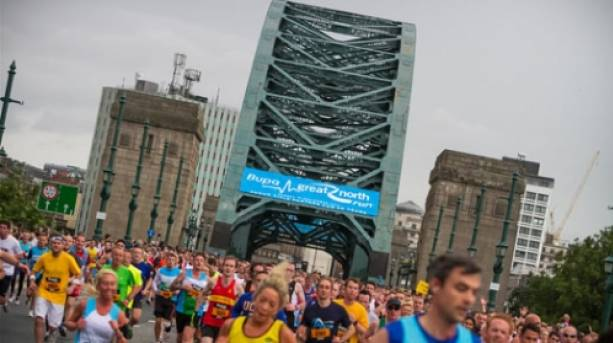 The Great North Run, the second largest half-marathon in the world, starting in Newcastle and finishing in South Shields