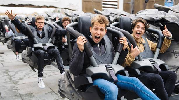A group of teenagers on a ride at Thorpe Park