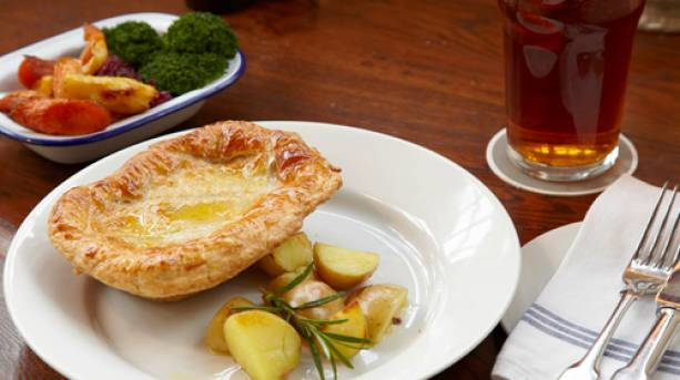 Pie and potatoes at The Three Daggers restaurant in Wiltshire