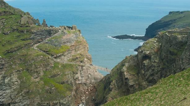 The ruins of Tintagel Castle on the Cornish coast