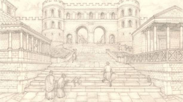 A sketch drawing of Lincoln's Steep Hill in Lindum Colonia