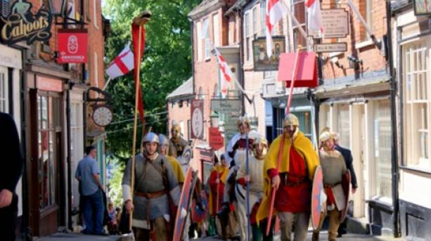 People dressed as Romans in Lincoln on Lindum Colonia Day