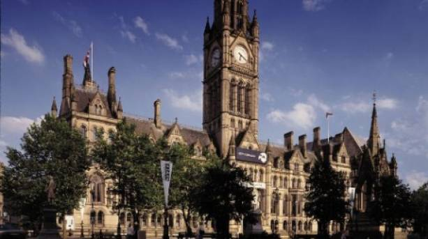 Manchester's Town Hall located on Albert's Square