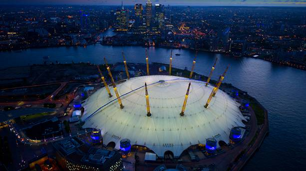 Up and over The O2 at night