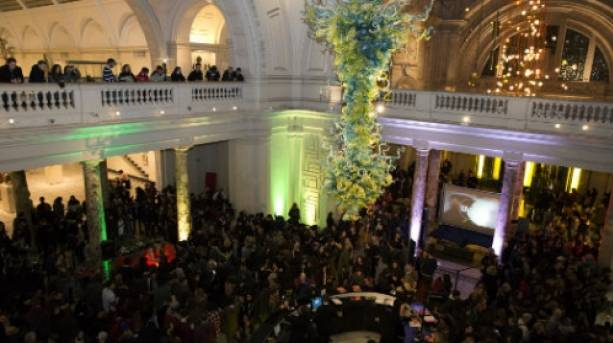 The central atrium at the Victoria and Albert Museum in Kensington, London during a monthly Friday Late takeover event.
