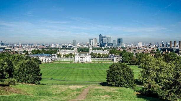 View over Greenwich Park to Canary Wharf and central London