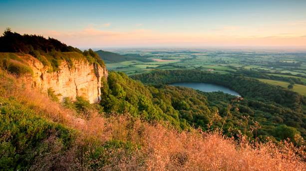 View of Lake Gormire from Sutton Bank, the only natural lake in the North York Moors National Park