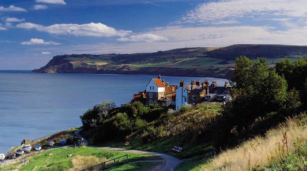 View over the old smugglers' haunt and fishing village of Robin Hood's Bay