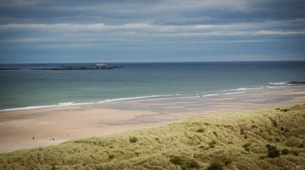 View of Farne Islands from Bamburgh Beach