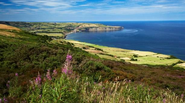View of Robin Hood's Bay from Ravenscar on Cleveland Way National Trail