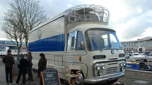Vintage movie bus outside Arnolfini - Encounters Film Festival, Bristol