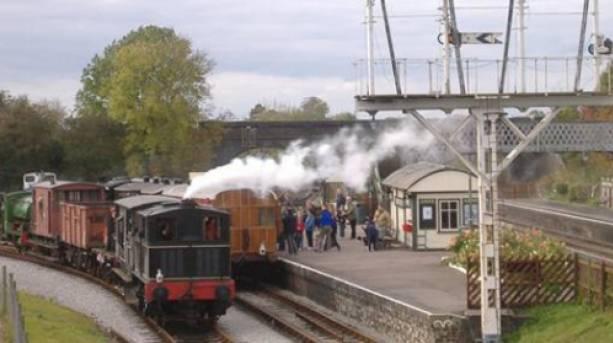 Steam Train arriving at the Buckinghamshire Railway Centre, Buckinghamshire