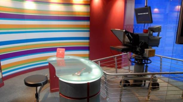 A television camera inside The National Media Museum in Bradford, England
