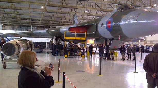 Visitors watch as maintenance is carried out on the Vulcan XH558
