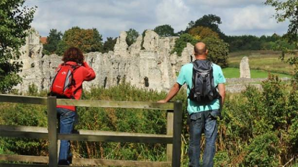 Take time out from your stroll to study the fascinating Castle Acre Priory ruins.