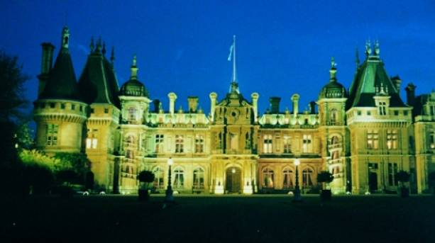 Waddesdon from the driveway at nighttime