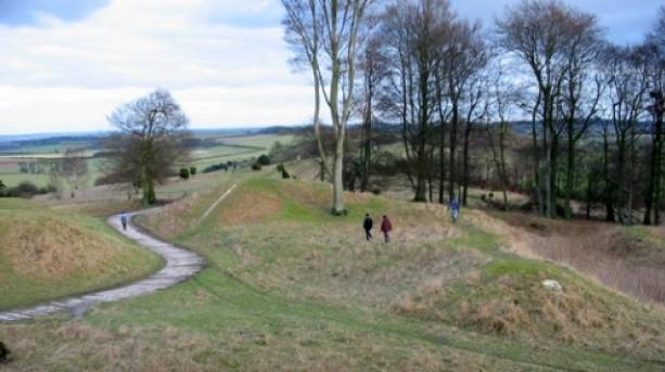 Walkers out and about exploring the hill fort