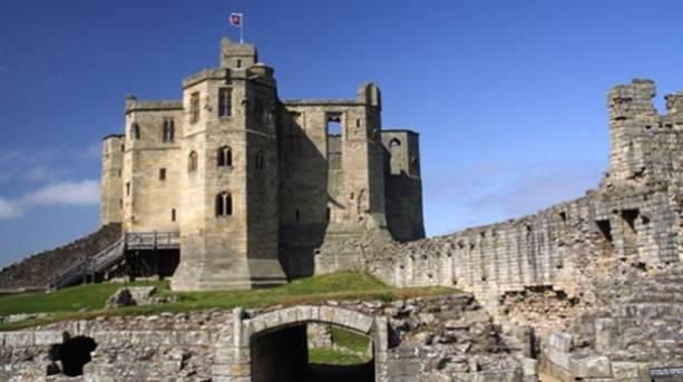Inside the castle walls at Warkworth Castle