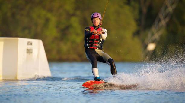 A wakeboarder at the Waterpark