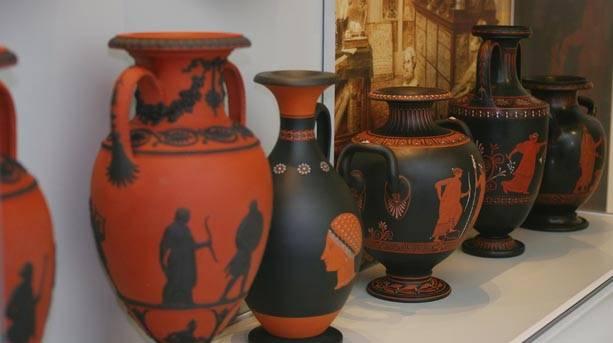Wedgwood Black Basalt vases at The Wedgwood Museum
