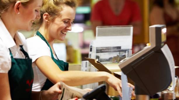 Cashiers at Welbeck Farm Shop, Nottinghamshire