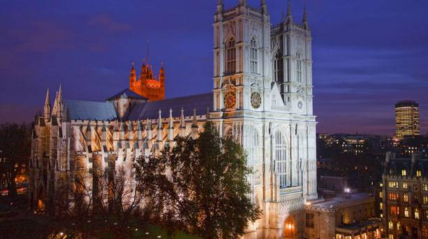 Aerial view of Westminster Abbey at night