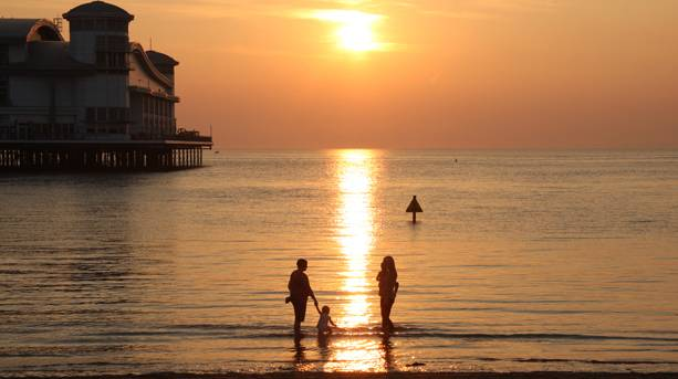 Weston Beach at Sunset