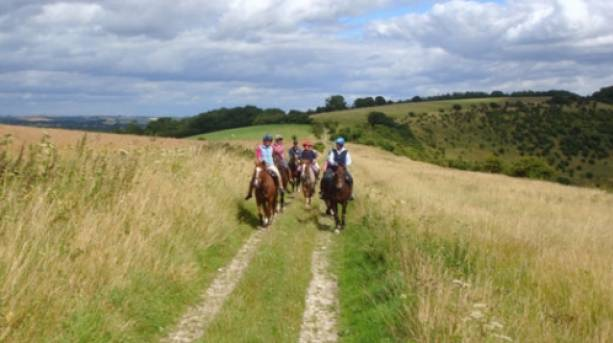 Enjoying a ride across Wiltshire countryside with Pewsey Vale Riding Centre