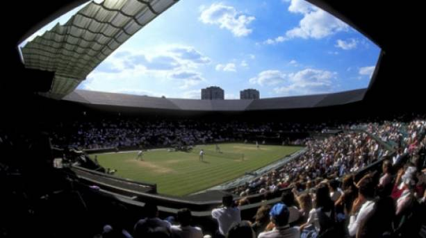 Spectators' view of Central Court at Wimbledon, London