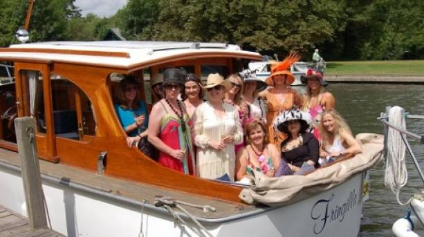 Ladies group enjoying a river cruise on Fringilla charter boat