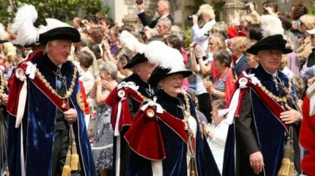 Procession of Garter Knights at the annual ceremony St George's Chapel Windsor