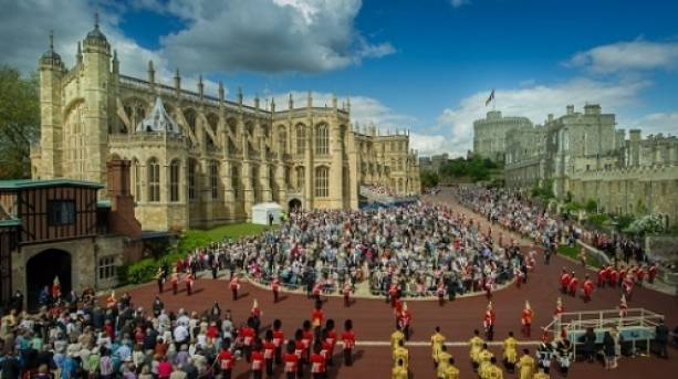 External view of the annual Garter Cermony at St George's Chapel, Windsor Castle