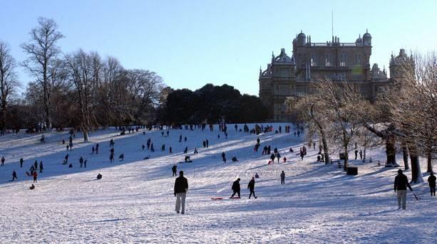 Wollaton Hall in wintertime