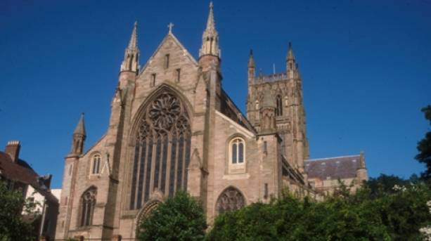 Upclose view of the outside of Worcester Cathedral