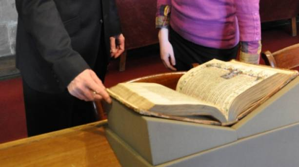 Ancient medieval book in the Cathedral library