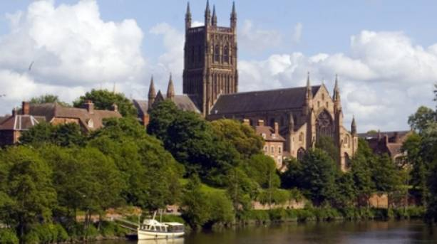View of the magnificent Worcester Cathedral rising up alongside the River Severn