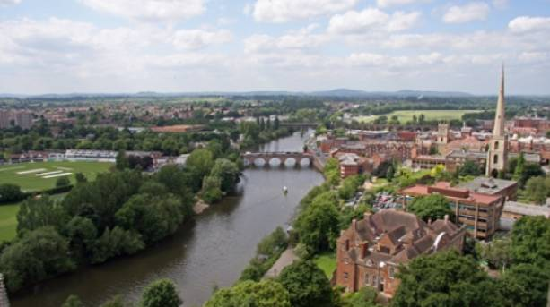 View from the top of the tower at Worcester Cathedral overlooking the River Severn and the historic city of Worcester